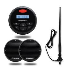 Marine Bluetooth Stereo Boot Radio FM AM MP3 Player Audio Sound System + 3 Zoll Marine Wasserdichte Motorrad Lautsprecher + antenne