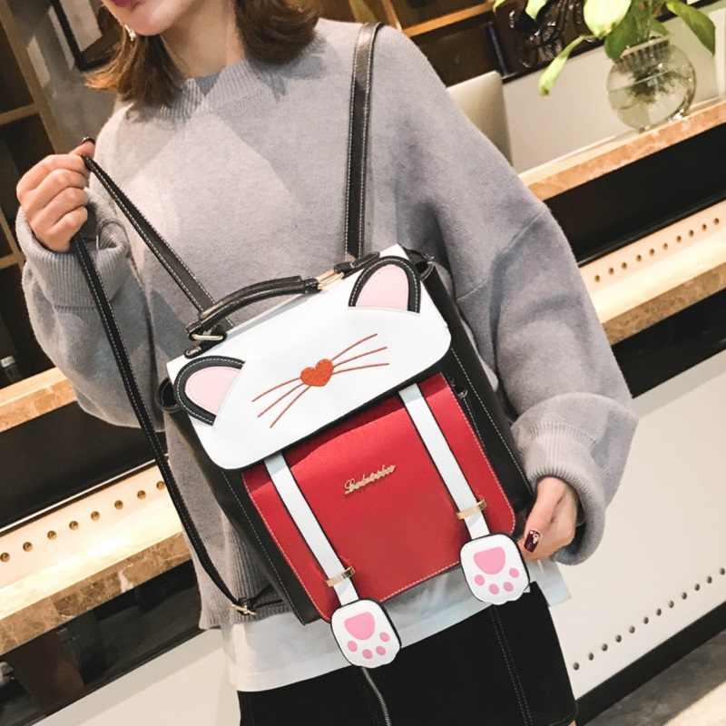 Mulheres dos desenhos animados mochila mochilas de couro do sexo feminino mini pequeno gato bolsa de Ombro saco de gato sacos de escola para meninas mochilas schoolbag viagens