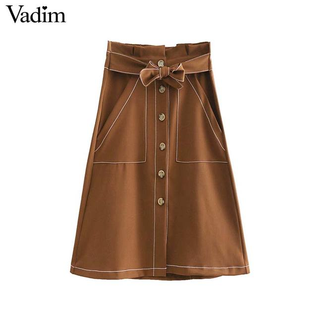 2e5e63717 € 13.26 |Vadim mujeres elegante bolsa de papel Falda midi de cintura arco  corbata fajas botones bolsillos una línea Damas negro casual faldas chic ...