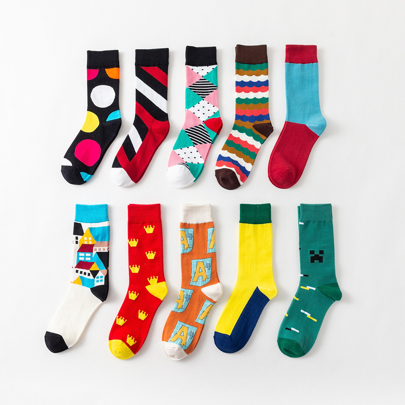 Men's Socks British Wind Cotton Socks High Tube Casual Men's Socks Europe and America Tide Brand Happy Socks
