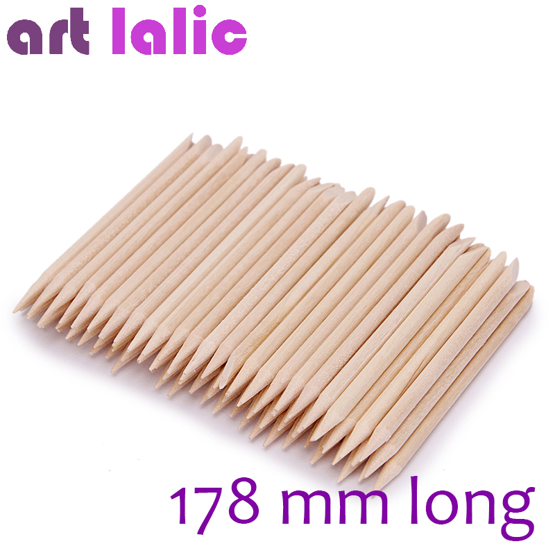 Artlalic 100pcs New 178mm Long Nail Art Design Orange Wood Stick Cuticle Pusher Remover Manicure Care Nail Tools Wholesale