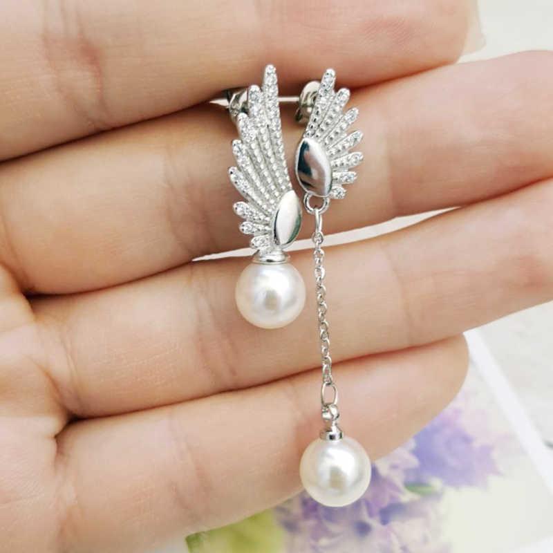 Cristal Zirconia borla coreana dissimetría larga Mujer 1 par ala de Ángel Artificial perla plata 2018 nueva llegada niñas