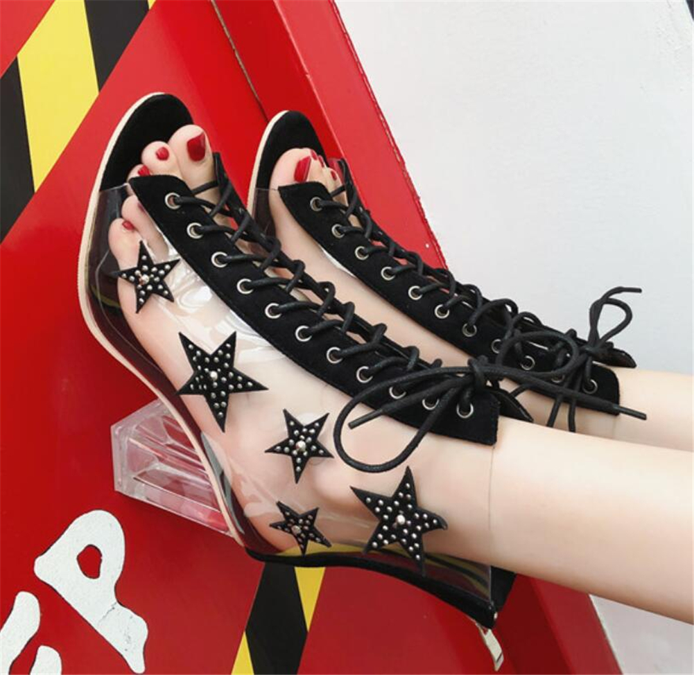 Women Ladies Chunky High Heels Summer Boots Peep Toe Crystal PVC Cross-strap Shoes Woman Sexy Party Women Shoes Female