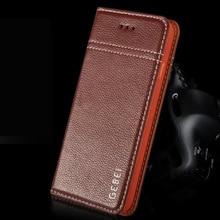 New Arrival Luxury Original Brand GEBEI Genuine Leather Flip Unique Magnet Design Stand Case Cover For iPhone 6 Plus  6S