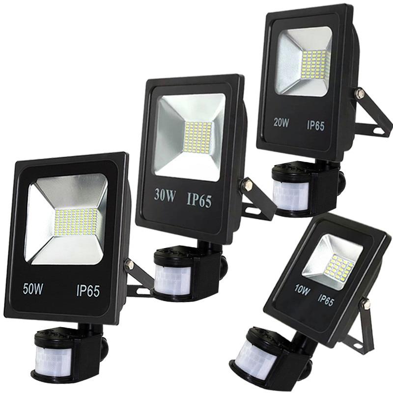 50w PIR Floodlights 10w 20w 30w Underground Lamp Led Flood Light With Motion Sensor 220v Garden Light Outdoor Halogen Light