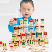 Детский деревянный флаг домино более 100 стран Развивающие игрушки для детей подарки на день рождения