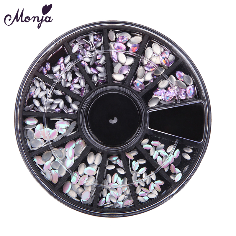Monja 3/4.5mm Nail Art Flatback Acrylic Oval Horse EyeRhinestones 3D DIY Charm Glitter Diamond Gems Round Decoration Wheel-in Rhinestones & Decorations from Beauty & Health    1