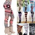 Polainas de La Manera Muchachas para mujer Casual Patrón Geometría de Colores Bodycon Pantalones Chic Vintage Retro de Punto Europa Estilo Leggings
