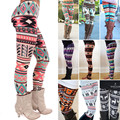 Womens Girls Casual Leggings Fashion Colorful Geometry Pattern Bodycon Pants Chic Vintage Retro Knitted Europe Style Leggings