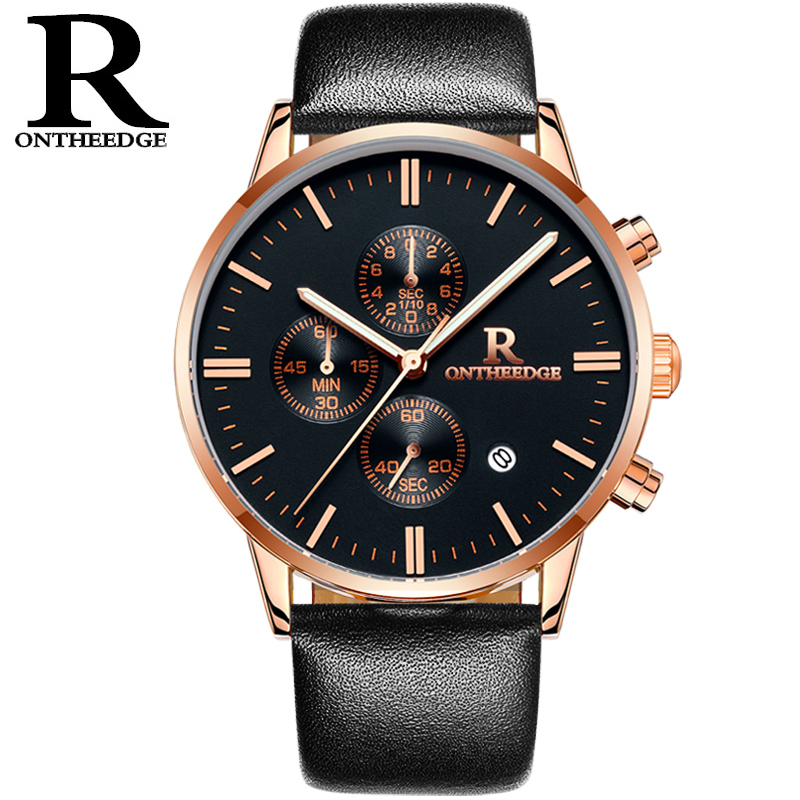 RONTHEEDGE Fashion Style Mens Watch Top Luxury Leather Quartz-watch Chronograph Luminous Sport Men Wrist Watch reloj hombre fashion retro map style mens watches top brand luxury leather quartz watch sport men wrist watch reloj hombre assassin s time