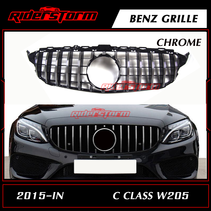 W205 GTR Grille Chrome Front Bumper Mesh GT R Grill for Benz W205 C-Class 2015+ Car Styling with/No Camera hole pp class front car mesh grill sport style fit for benz w203 c 2000 2006