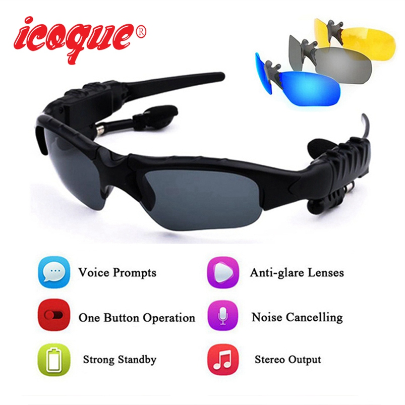 Icoque Sunglasses Wireless Bluetooth Earphone Sun Lens Sport Headphone with Mic for iPhone X Xiomi Samsung Sony Stereo Earphones