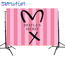 sxy936 7x5FT Pink Stripes Secret Girls Backdrops Custom Photo Backdrop Background Vinyl 220cm x 150cm