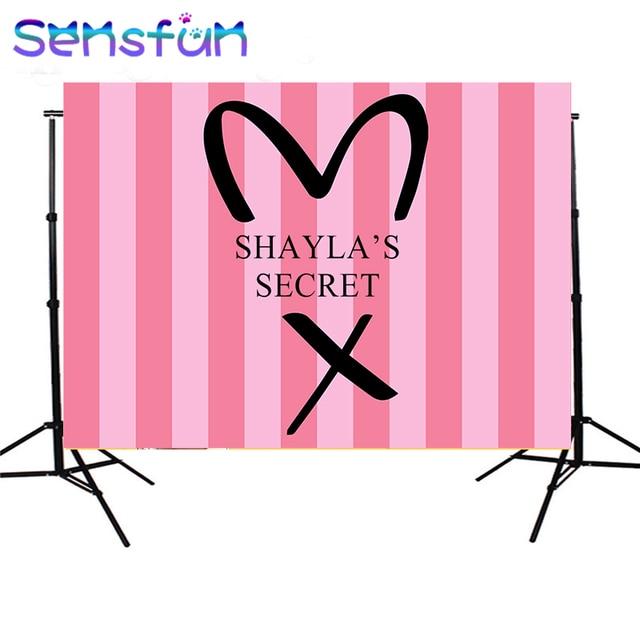 sxy936 7x5FT Pink Stripes Secret Girls Backdrops Custom Photo Backdrop Background Vinyl 220cm x 150cm