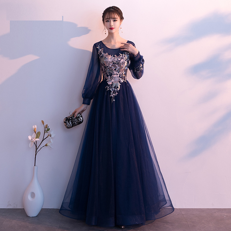 BIG DISCOUNT) Navy Blue Long Sleeves Evening Gowns Plus Size ...