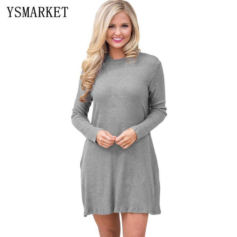 YSMARKET Autumn Winter Women Sweater Dress High Quality High Neck Knitted Dress Black&Gray Casual Dress Brief style E27712