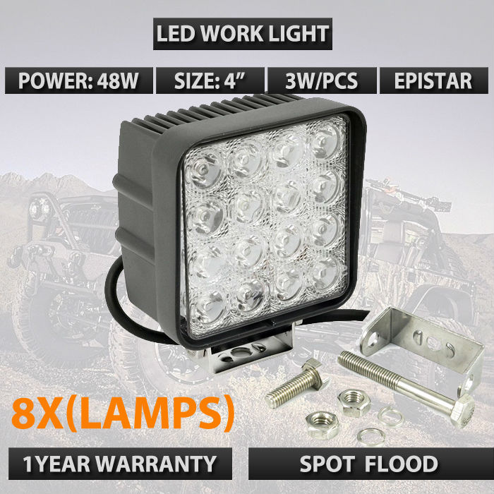 8 X 4Inch 48W LED Work Light for Boat Car Tractor Truck 4x4 SUV ATV Flood 12/24V dhl free shipping