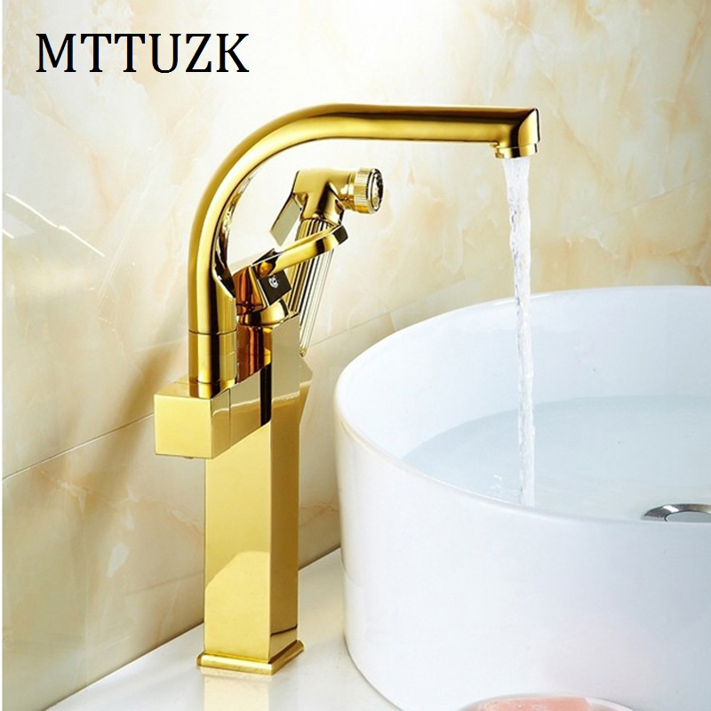 MTTUZK High Quality Golden Brass Kitchen Faucet Deck Mounted Pull Out Mix  Tap Bathroom Hot And