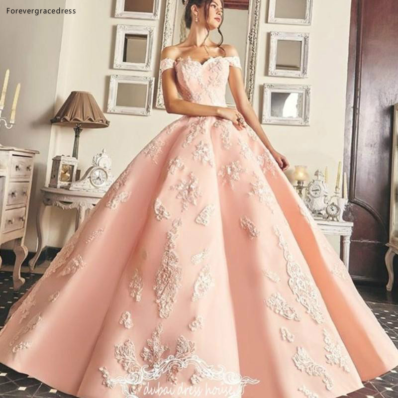2019 Charming Quinceanera Dress Princess Arabic Dubai Off Shoulders Sweet 16 Ages Long Girls Prom Party Pageant Gown Plus Size