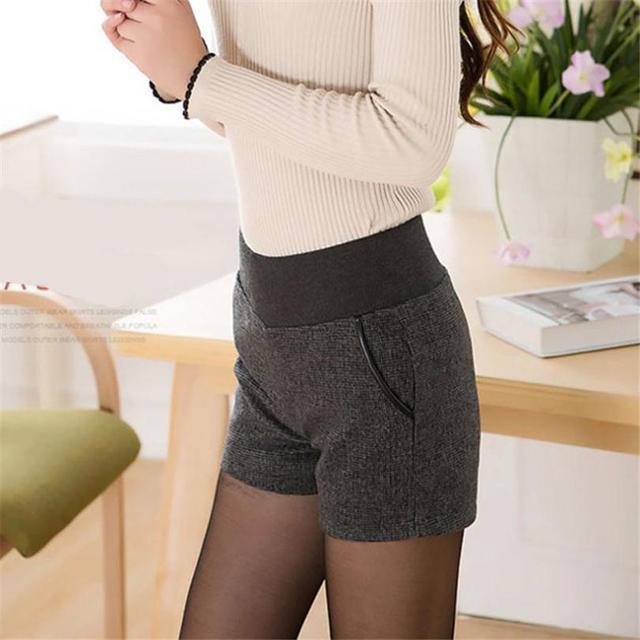 New Autumn Winter Women's Clothing Slim wild Pocket Contrast Color Shorts Female Woolen Crimping Short Pants thick Download D016 3