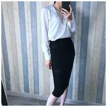 3a1926715ca94 Vintage Female Silk Blouse 100% Natural Silk Chic Blouses Women elegant  Long Sleeve OL work