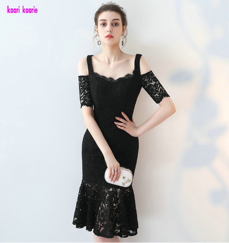Sexy Black Lace   Cocktail     Dresses   2018 Real Photos Sweetheart Short-Sleeve Mermaid Formal Prom Gowns Short   Cocktail   Praty   Dress