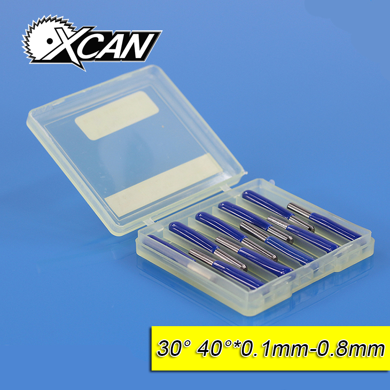XCAN 10pcs/lot V Shape flat bottom Carbide PCB Engraving Bits CNC Router Tool 30 40 degree metal cutter mini drill bit