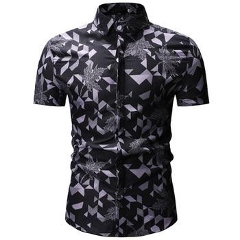 Mens Hawaiian Shirt Male Casual Camisa Masculina Printed Beach Shirts Short Sleeve Brand Clothing Free Shipping Asian Size 3XL 4