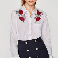OYK6082 Za Autumn Women Foral Embroideried Beading Blouses White Rose Shirt Cotton Womens Camisa Loose Blusas