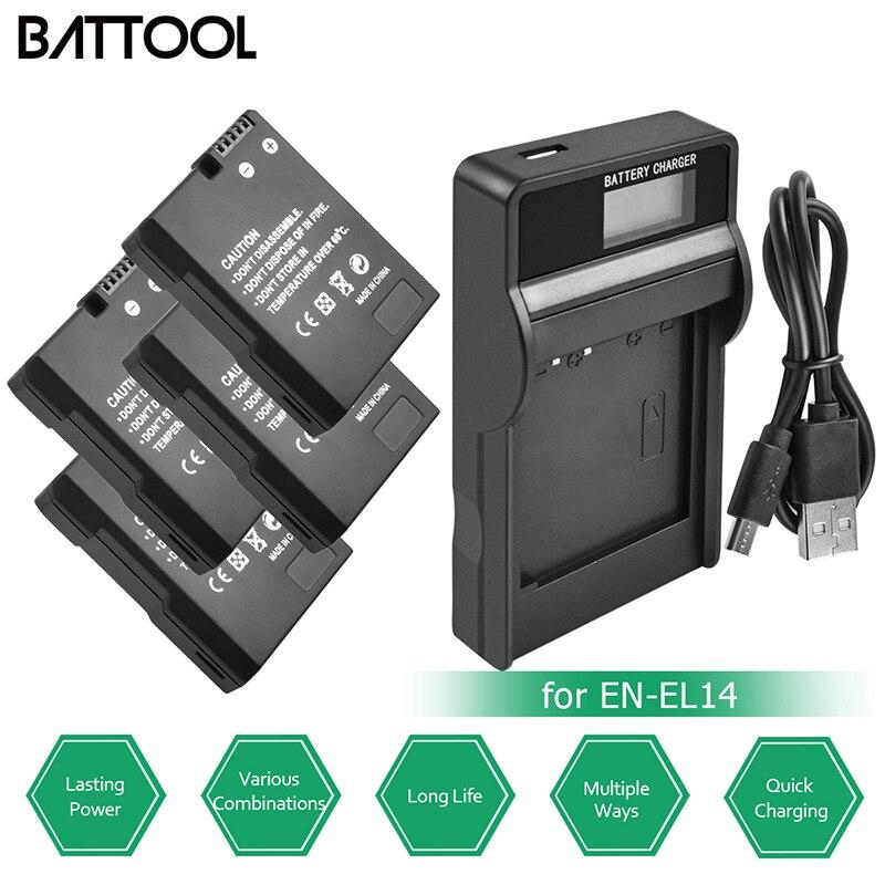 BATTOOL 4Pcs EN-EL14 EN-EL14A Decoded Battery Bateria + LCD USB Charger for Nikon D3100 D3200 D3300 D5100 D5200BATTOOL 4Pcs EN-EL14 EN-EL14A Decoded Battery Bateria + LCD USB Charger for Nikon D3100 D3200 D3300 D5100 D5200