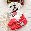 Bebê Longo-sleeved terno a Roupa Do Bebê Recém-nascido Conjunto 2 PCS Bebê Menino Roupas de Algodão Do Bebê Menina Conjuntos de Roupas Mickey roupa infantil