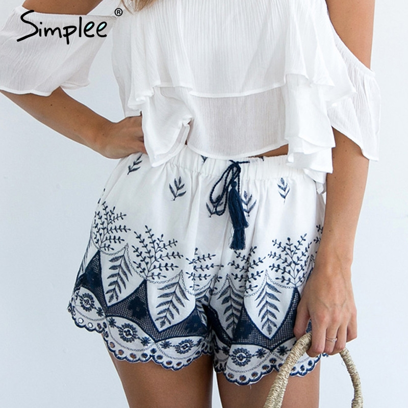 Simplee Embroidery Tassel High Waist Shorts Women Drawstring Loose Print Shorts Casual Fringe Beach Summer Shorts Femme 2018