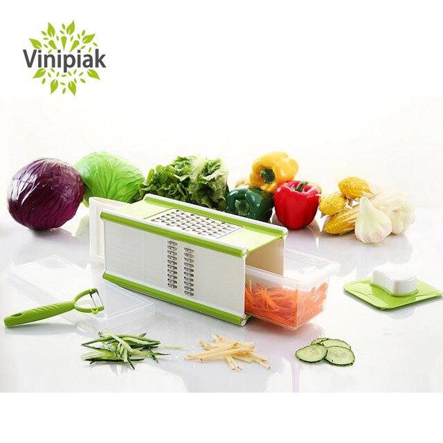 Multifunktionale Mandoline 4 in 1 Gemüse Reiben Kartoffel Obstschäler  Aufbewahrung Küche Werkzeuge