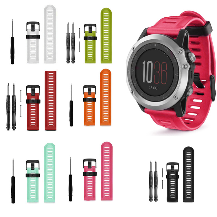 12 Colors 26mm Width Outdoor Sport Silicone Strap Watchband for Garmin Band, Silicone Band for Garmin Fenix 3 GMFNX3SB 22mm width nylon strap for garmin fenix 5 band outdoor sport watchband with quick fit for garmin fenix 5 replace wrist band