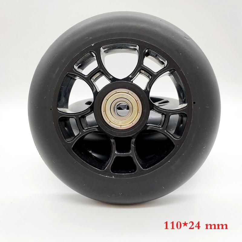 free shipping scooter wheel 110 mm * 24 mm black wheel PU made ABEC-7 bearing