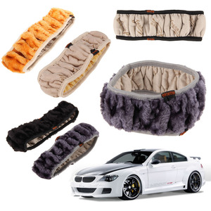Image 2 - VODOOL רכב הגה חם חורף כיסוי חם ארוך צמר בפלאש פו פרווה בלם יד מכונית אביזרי רכב