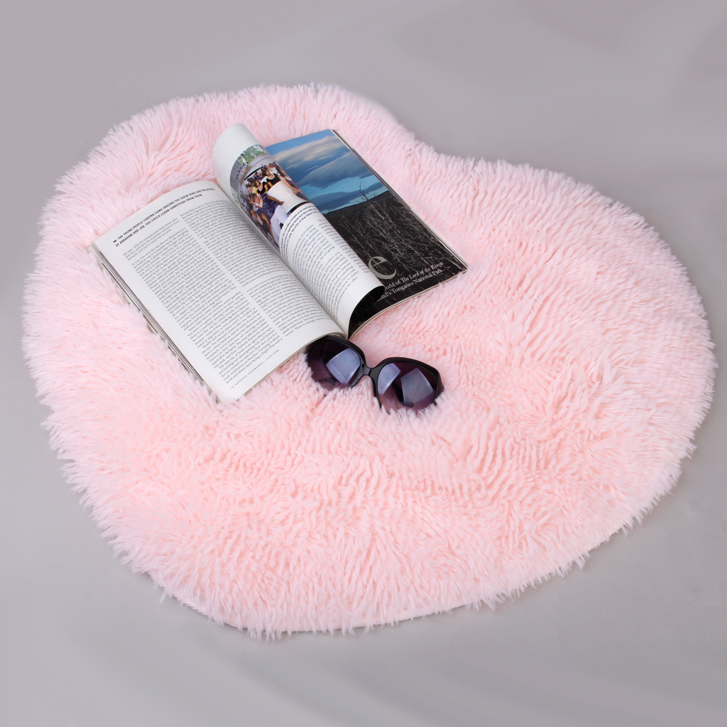 Soft Heart Cute Design Fluffy Mat Rug Bedroom Fake Faux Fur Carpet Floor  Decoration Pink Cushion