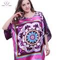 Summer Style Home Clothing 2017 Large Bath Robe Longue Faux Silk Nightie For Sleep Ladies Sleepshirt Women Nightgowns