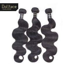 Dollface Cambodian Virgin Hair Weave Bundles Body Wave 3 Human Hair Bundles Unprocessed Natural Color Hair Free Shipping(China)