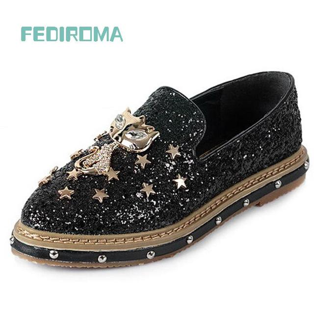 FEDIROMA Woman shoes 2016 Spring Fashion Bordered Rivets creepers shoes Women Loafers Bullock Flat shoes Cartoon Cat flat shoes