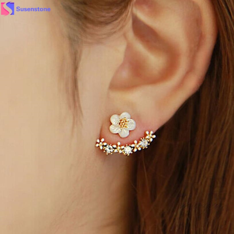 1Pair Women Fashion Flower Crystal Ear Stud Earrings Earring Jewelry Gift золотые серьги по уху