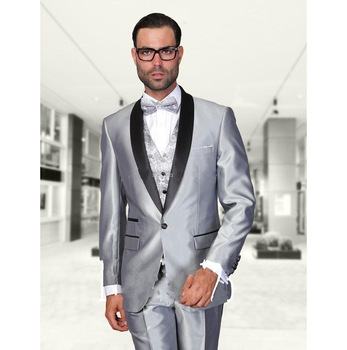 2018 Simple Fashion Sliver One Button Bridegroom Tuxedos Tailored Shawl Lapel Best Man Wedding Suits costume homme italien