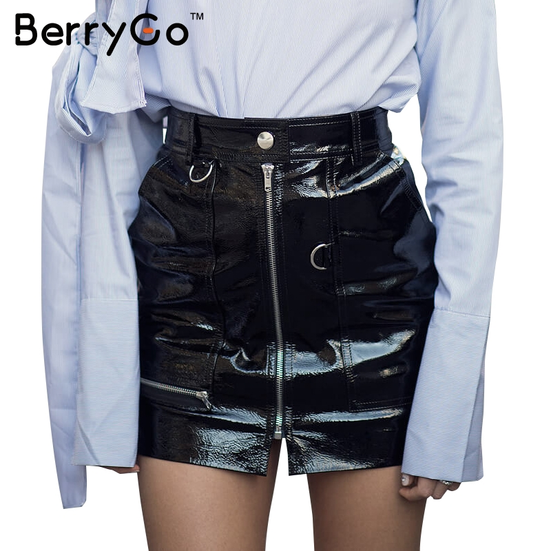 BerryGo Elegant zipper bLack PU leather skirt Women autumn casual high waist skirt Winter 2016 sexy slim pocket short skirt