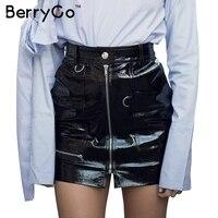 BerryGo Elegant Zipper BLack PU Leather Skirt Women Autumn Casual High Waist Skirt Winter 2016 Sexy