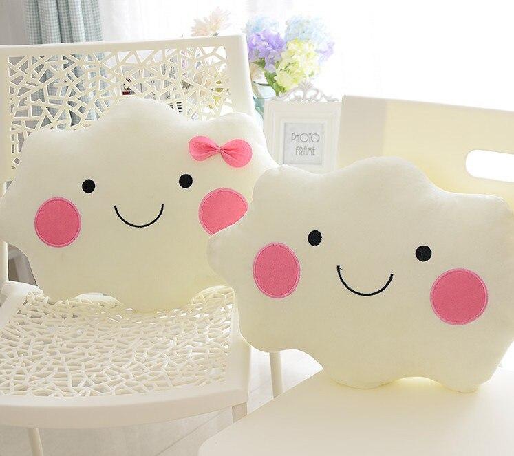 Home Room Decorative Pillows Simple Cute Cloud Emoji Cushion Fleece Bow Pillows Sleep Toys Stuffed Plush Dolls Gifts For Kids Солдат
