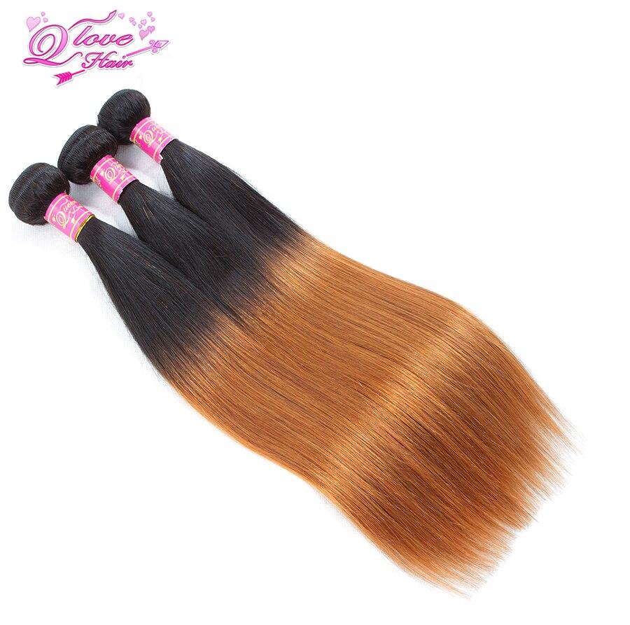 Queen Love Hair Ombre Peruvian Straight Hair 3 Bundles 1B/30 Tone Honey Blonde Non Remy Human Hair Extension Hair Bundles Weave