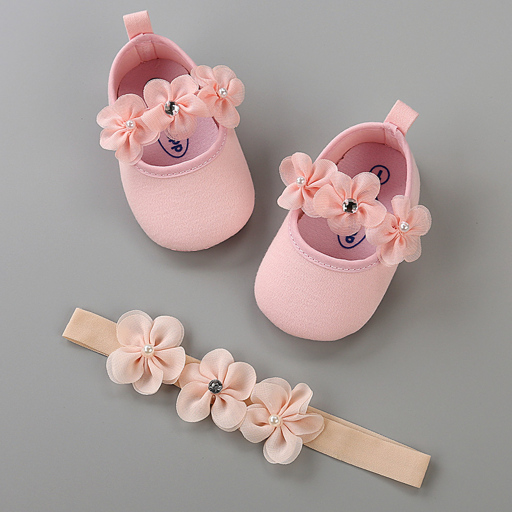 Newborn New Casual Cute Shoes Baby Hairband Girl Shoe Casual Sneaker Anti-slip Soft Sole Toddler Girl Shoes Baby Sweet Outfits