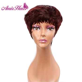 Amir Short wigs Synthetic Hair Puffy Black Mixed Blonde Brown Gray Straight Wig Short Pixie HairCut Style Mommy Wigs for Women - DISCOUNT ITEM  35 OFF Hair Extensions & Wigs
