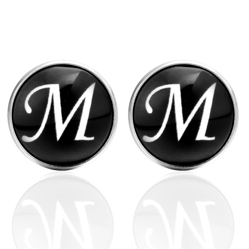 MeMolissa 2018 New Arrival Glass Cabochon Letters M Cufflinks fathers day Fashion Matel Luxury Cuff links Mens Jewelry