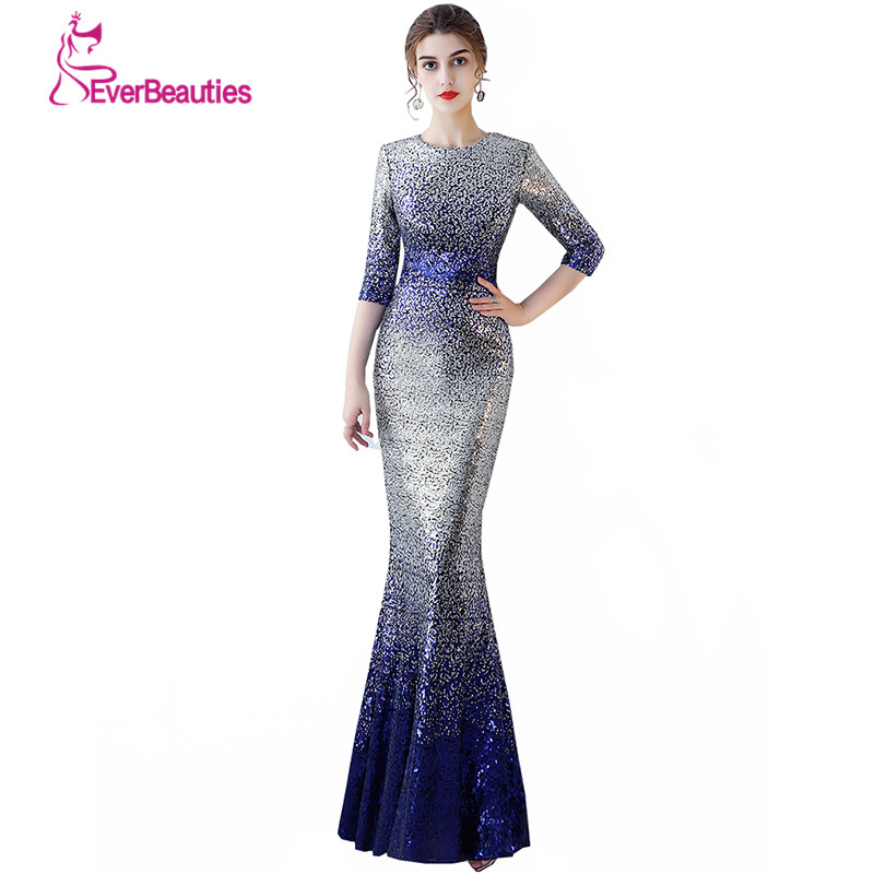 Robe De Soiree Mermaid Evening Dresses With Sleeves Sequins Long